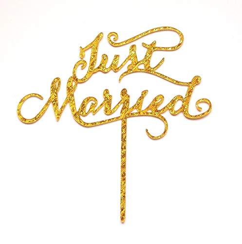 Aharan9 (アハランナイン) 結婚式 ウェディング ケーキトッパー ウェディングケーキ ケーキ トッパー 飾り デコレーション (JUST MARRIDE ラメ金)