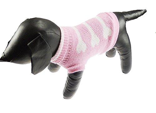 Glamour Girlz Schattige Thee Cup Speelgoed Honden Wollig Gebreid Roze & Wit Been Roll Neck Meisje Jongen Jumper - Verkrijgbaar in 5 maten, XXL