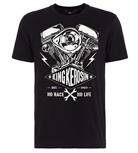 King Kerosin Herren T-Shirt Bikerstyle No Race No Life Kurzarm Print-Shirt Regular Fit No Race No Life