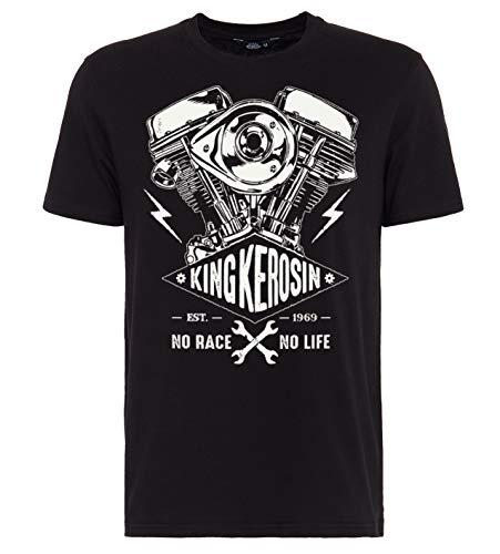 King Kerosin Race No Life T-Shirt, Nero, XL Uomo