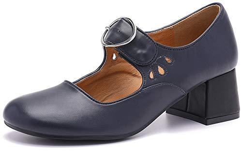 Mostrin Mary Jane Damenschuhe aus Leder, klobig, mittelhoher Absatz, lässig, Vintage, Tanzkleid, Blau (blau), 40 EU