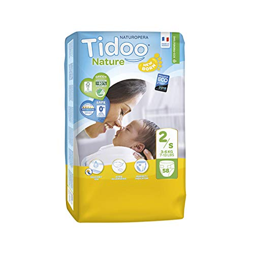 Couches Écologiques Night & Day | T2/S | Mini 3-6 kg | 58 Couches | Tidoo