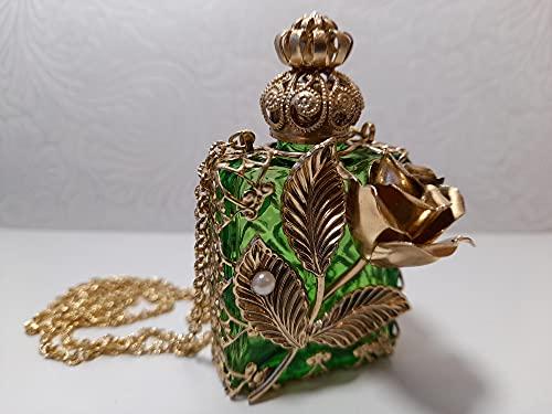 FRANCE HAIR BEAUTE Mini Flacons Parfum Luxe de Collection LA Rose. Un Savoir Faire Artisanal. Flacon en Verre. Baton diffuseur Verre. Filigrane doré. Haut 67 mm. Vol: 10 ML