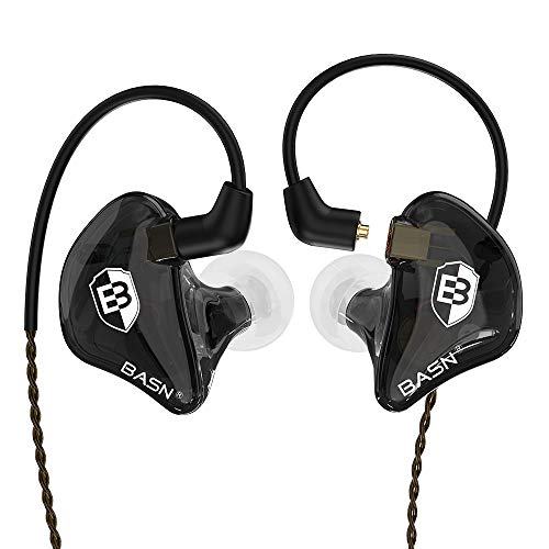 BASN Bsinger In Ear Monitors Wired Earphones with Noise Isolation, Dual Dynamic Drivers High Definition IEMs with MMCX Detachable Cable for Musicians Drummers Singers (Schwarz)