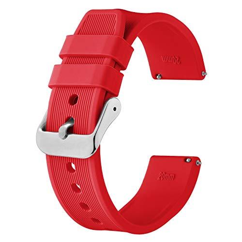 BISONSTRAP Correa de Reloj de Silicona 22mm, Correa de Repuesto de Goma de Liberación Rápida, Pulsera para Hombres y Mujeres (Rojo)
