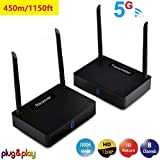 MEASY HD595 5.8G wireless HDMI extender transmitter and receiver up to 450m with IR control return function...