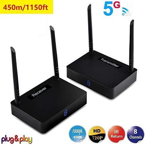 measy HD595 5.8GHZ Wireless HDMI Extender Estensione Antenna to 1320ft/450m Sostegno Telecomandi IR e Full HD 1080P 5GHz A/V Trasmissione (Ricevitore Trasmettitore)