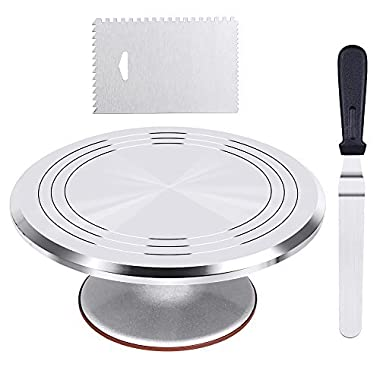 Kootek Aluminium Alloy Revolving Cake Stand 12 Inch Cake Turntable with 12.7'' Angled Icing Spatula, 3 Comb Icing Smoother, Silicon Spatula and Cake Server/Cutter Banking Cake Decorating Supplies