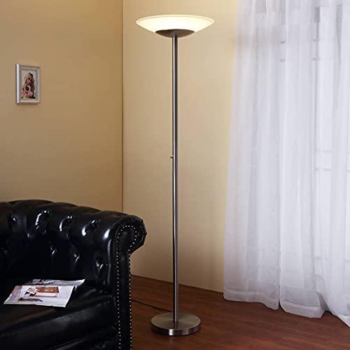 Lindby LED Stehlampe 'Ragna' dimmbar (Modern) in Alu aus Glas u.a. für Wohnzimmer & Esszimmer (1 flammig, A+, inkl. Leuchtmittel) - Wohnzimmerlampe, Stehleuchte, Floor Lamp, Deckenfluter