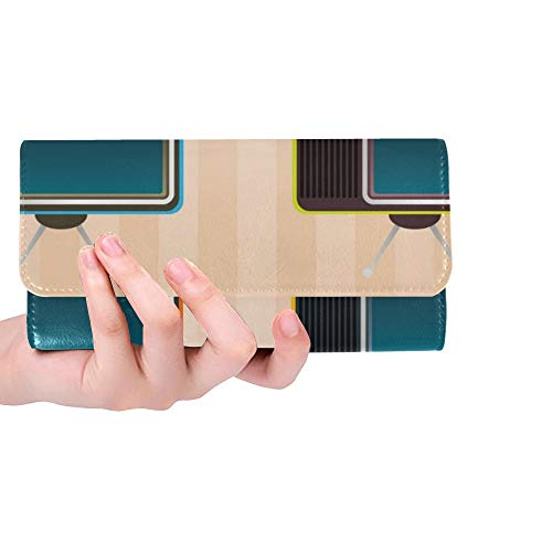 Einzigartige benutzerdefinierte Vintage Retro-Fernseher Symbol Frauen Trifold Wallet Lange Geldbörse Kreditkarteninhaber Fall Handtasche