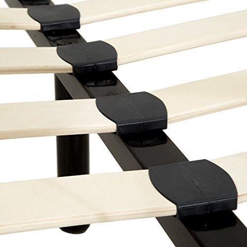 TecTake Lit en métal Design Cadre de lit + sommier à Lattes - diverses modèles - (140x200cm, Noir | No. 401723)