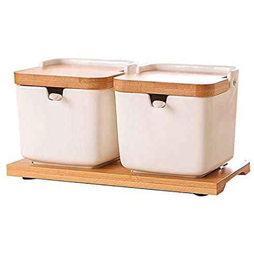 TYUIOO Sugar Bowl con coperchi e cucchiai, 8.54Oz vaso di ceramica con il cucchiaio di zucchero, Condimento Spice Jar for la cucina, porcellana Zucchero piatto for lo zucchero, di servizio, Spezia, Sa