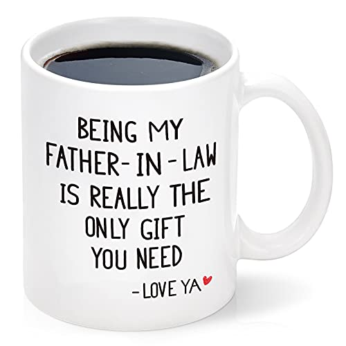 Being My Father-in-law Mug, Fathers Day Idea for Father-in-law from Daughter Son, Best Birthday Gift for Father-in-law, Father Male Coffee Mug for Dad White 11 Oz