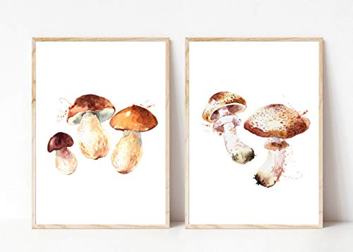 Din A4 Kunstdruck ungerahmt 2er Set - Pilz Steinpilz Champignon Küche Esszimmer Aquarell Druck Poster Bild