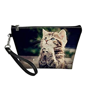 HUGS IDEA Women's Small Trapezoid Clutch Bag Cosmetic Purse Handbags Zipper Closure Travel Make Up Portable