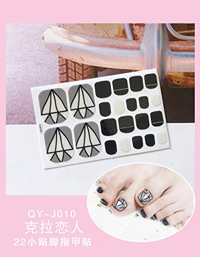 BGPOM Foot Stickers Nail Stickers Nail Stickers Fully Waterproof Lasting 3D Toenail Stickers Patch 10 Sheets/Set,Carat Lovers (QY-J010)