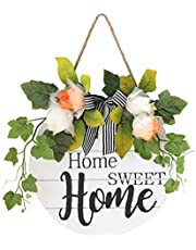 House Sign Hanging Sign Ronde deur met bloemen Houten Sweet Home Teken voor Opknoping Farmhouse Porch Spring Summer Decoration