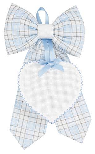 Filet Fiocco Amp1923B Nascita da Ricamare | Fiocco in Cotone con Cuoricino in Tela Aida 55 Fori | Ideale per il Punto Croce - Colore Azzurro - 200 G