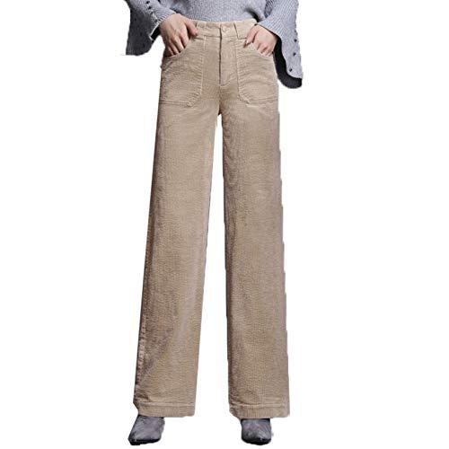 GenericBrands Damen Cordhose mit weitem Bein Einfarbige Hose Dicke, Bequeme, verschleißfeste, lockere Hose mit geradem Bein