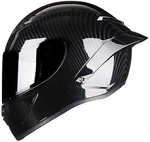 Egrus L Fibra de Carbono de la Cara Llena del Casco de Doble Casco de la Motocicleta Deporte De la Bici Unisex-Adultos al Aire Libre ~ 59-60CM (Color : A, Size : S)