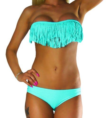 ALZORA Bikini Set Damen Tassel Fransen Fringe Ringe Push Up Set Top und Hose viele Modelle und Farben, 10209 (M, Türkis)