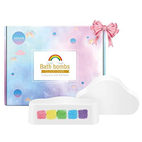 Rainbow Bombas de Baño, Handmade Fizzy Bath Bomb con ingredientes naturales y orgánicos, Regalos de Navidad/Cumpleaños para niños y mujeres, Ensemble de 2