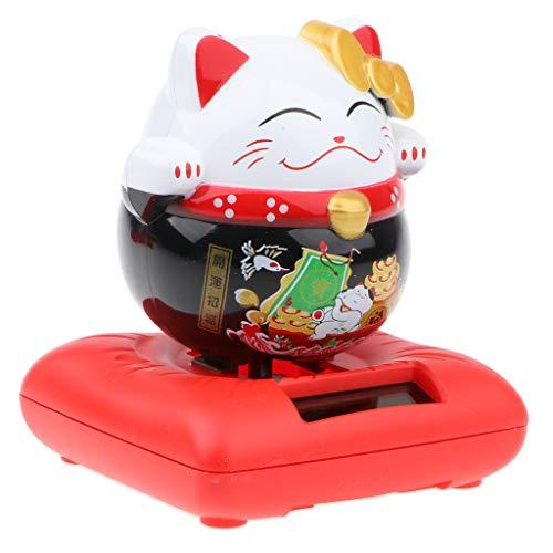 Solar Powered Nodding Bobbing Japanese Fortune Cat Lucky Kitten Solar Home Decor Bobbleheads Animal Pet Model Toy #B1