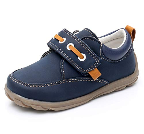 Ahannie Kids Slip On Boat Shoes Sneakers Adjustable Straps Loafers Casual Shoes for Toddler Boys Navy/Brown
