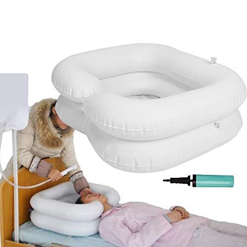 BJYX Aufblasbares Waschbecken Verdicktes PVC Haarwaschbecken Tragbares Shampoo Waschbecken mit Wassersack Duschkopf Luftpumpe
