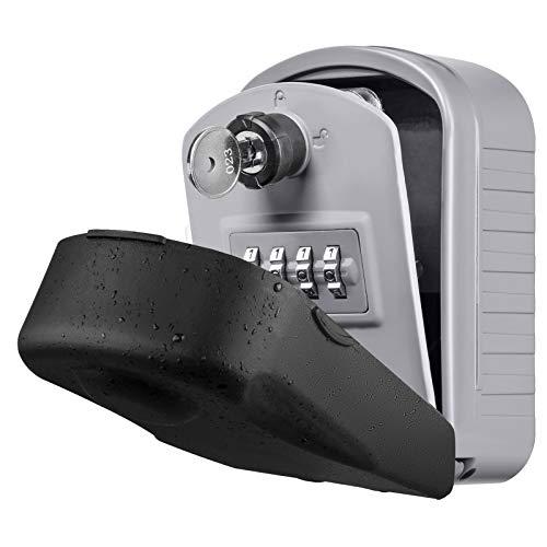 Caja para Llaves con Codigo ENONEO Grande Caja Seguridad Llaves Exterior con Llave de Emergencia Caja Fuerte para Llaves para Oficina Casa, Garaje, Escuela [Versión Actualizada] Key Box Lock (Plata)