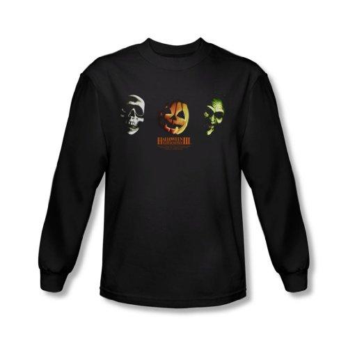 Halloween III - Halloween III - Männer Drei Masken Langarm-Shirt In Schwarz, XX-Large, Black