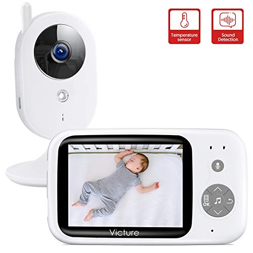 Victure Video Baby Monitor with Digital Camera Support Infrared Night Vision Room Temperature Audio Two Way Talk Voice Activated Lullabies 3.2' LCD Screen 2.4GHz Wireless Transmission Long Range