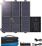 BigBlue Cargador solar portátil (2 salidas USB+DC), 42 W impermeable SunPower Panel solar cargador para camping y mochilas, plegable y carga rápida, compatible con teléfonos móviles, paquetes de baterías, iPad, etc