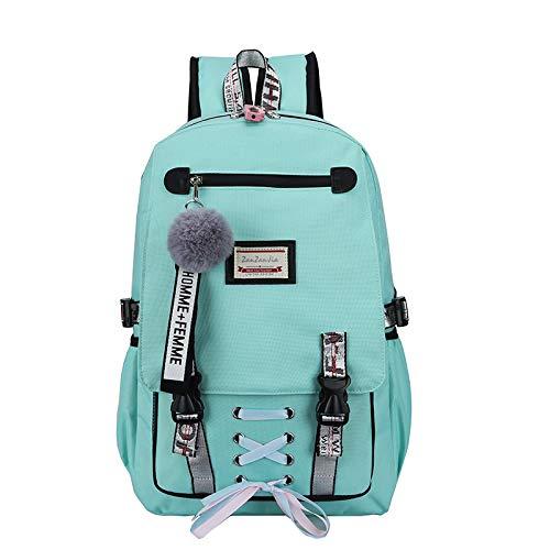 CYKJ Mujeres Grandes Bolsas de escuelas para Adolescentes USB con Mochila Anti Robo de Bloqueo Mochila para Mujer,Cyan Blue