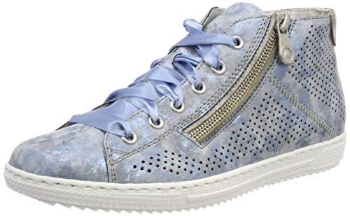 Rieker L9427 Damen Schnürstiefelette,Kurzstiefel,Schnürboot,Sneaker,flach,Heaven/Grey / 12,38 EU