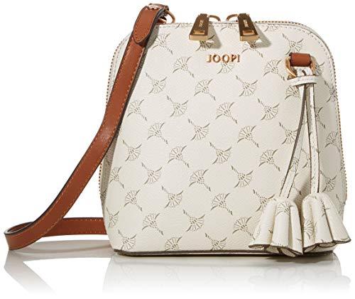 Joop! Schultertasche Cortina Livia aus Kunststoff Damen Handtasche mit Reißverschluss, Weiß (Offwhite), 8x17x16.5 cm (B x H x T)