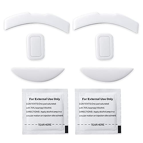 2 Sets White Rounded Curved Edges Mouse Feet Pads Skates Compatible for Razer Mamba Elite Gaming Mouse