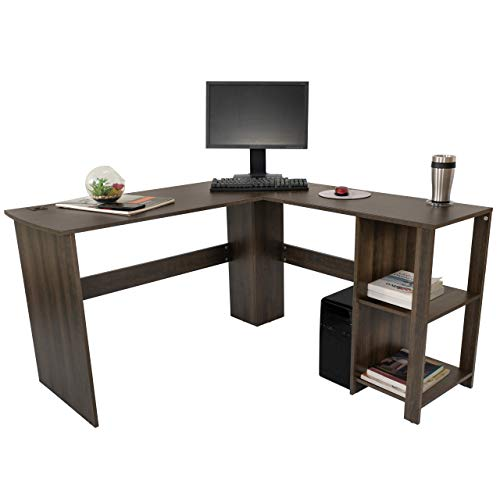 【Fast Delivery】 Rotating Computer Desk with 5 Shelves Bookshelf, Modern L-Shaped Corner Desk with Storage, Reversible Office Desk Study Table Writing Desk on Wheels for Gaming and Home Office (Black)