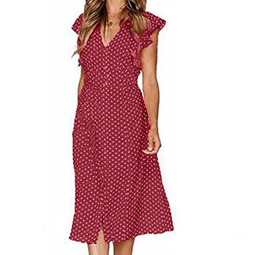 Vestidos sexy para mujer con curvas vestido casual para las mujeres vestido boho vestido más tamaño vestidos casual largo maxi vestido rojo S