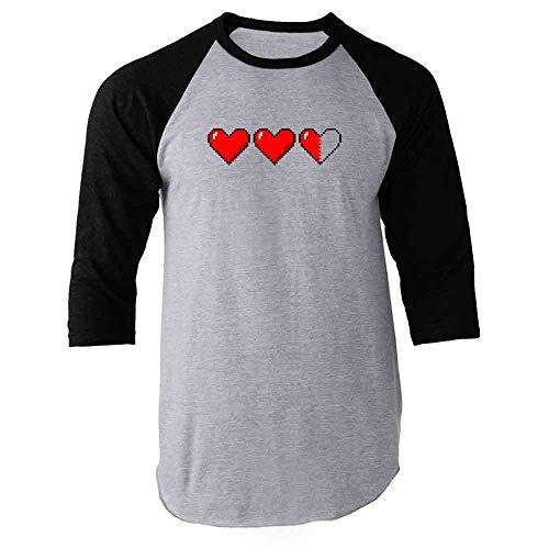 Heart Meter Pixel Art Video Gaming Gamer Retro 80s Black 2XL Raglan Baseball Tee Shirt