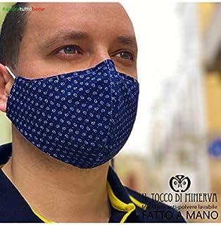 Mascherina Unisex Artigianale Anti-polvere Lavabile, Realizzata a Mano in Italia con Tessuti d'Alta Moda, Blu goccia