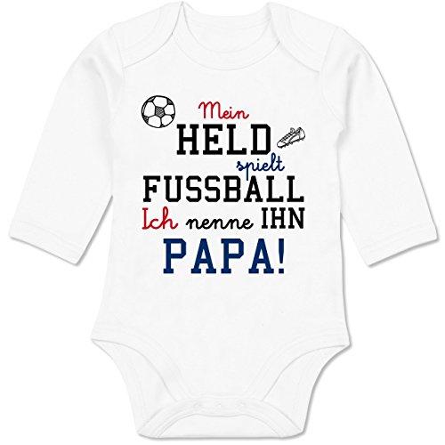 Shirtracer Sprüche Baby - Mein Held spielt Fußball - 3/6 Monate - Weiß - Fussball Papa - BZ30 - Baby Body Langarm