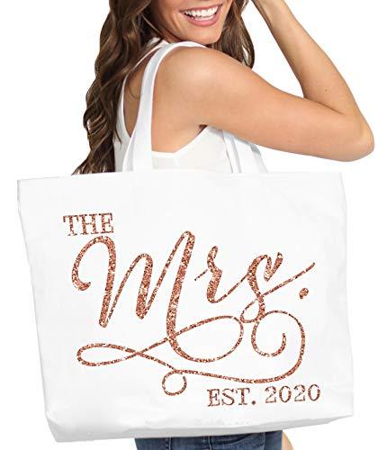 Giant Cotton Canvas Bride Tote - Rose Gold The Mrs. EST. 2020 Modern Bridal White Tote Bag - Bridal Shower or Bachelorette Gift - White Tote(Mod 2020RGG)WHT