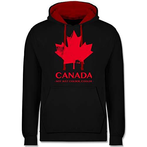 Shirtracer Länder - Canada Vintage Not just Colder Cooler - XXL - Schwarz/Rot - Kanada Pullover - JH003 - Hoodie zweifarbig und Kapuzenpullover für Herren und Damen