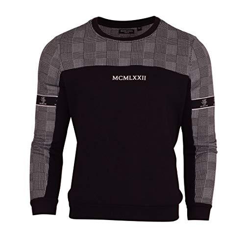 BRAVE SOUL Herren-Sweatshirt, schwer, Rundhalsausschnitt, aus Fleece Gr. Large, Schwarz