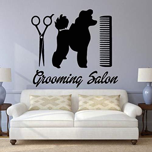 Salón de belleza tatuajes de pared perro animales mejores amigos tienda de mascotas decoración de interiores vinilo pegatinas de pared papel tapiz de peine