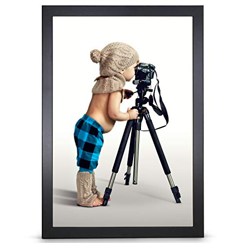 Stallmann Design Bilderrahmen 50x75 cm schwarz Rahmen Fuer Dina 4 und 60 andere Formate Fotorahmen Bilderrahmen zum hängen aus Holz MDF mehrere Farben wählbar Frame für Foto oder Bilder