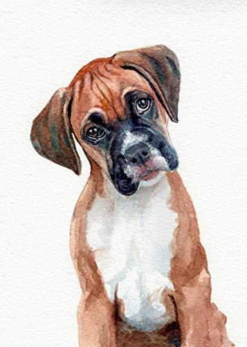 Yxsnow 5D DIY Pintura Diamante perro boxer marrón 5D Cuadro de Bordado de Diamantes Rhinestone Mosaico decoración manualidades decoración de pared para el hogar 12x16