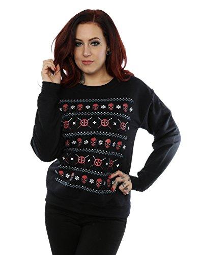 Marvel Damen Deadpool Christmas Sweatshirt Small Schwarz