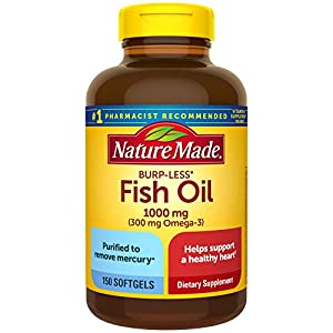 Nature Made Burp-Less Fish Oil 1000 mg with 300 mg Omega-3, Dietary Supplement for Healthy Heart Support, 150 Softgels, 75 Day Supply